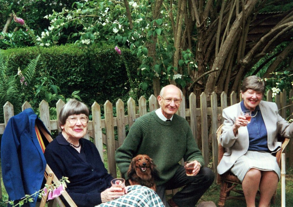 2010 in the garden at Longside. Joyce Avery (left) and Dorothy (right), daughters of Henry and Edith Avery, with Robert Avery, son of Leonard and Doris, with his dog Sam