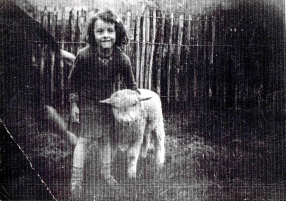 Sylvia Trinder with her pet lamb.