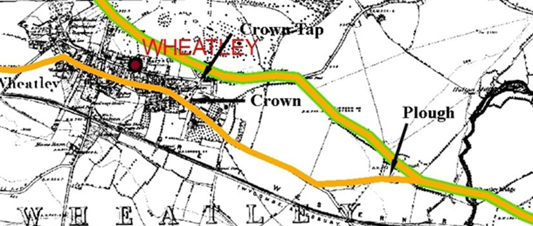 The ambiguity of the two 'red' routes, and the dates, are clarified by the further map below. The original 'orange' route was replaced in 1789 by the green and orange route.