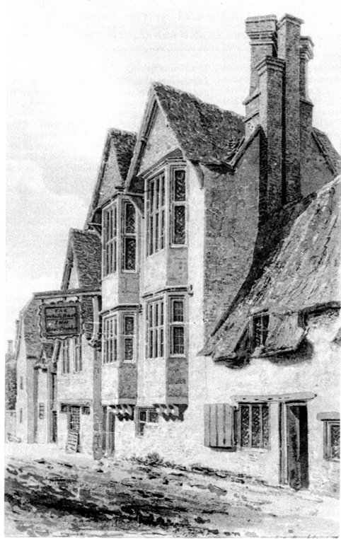 The old White Hart, Wheatley, 1822, drawn by James Buckler.
