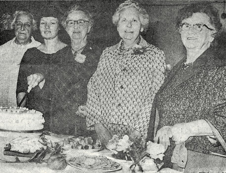 Left to right are Mrs C Shorter, Mrs Woodward, Mrs C Sheldon, Miss M Harris and Mrs F Perkins,