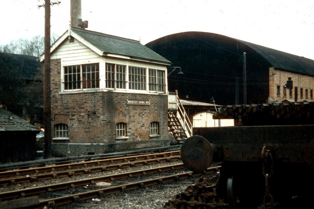 Avery's sawmill building in relation to the signal box