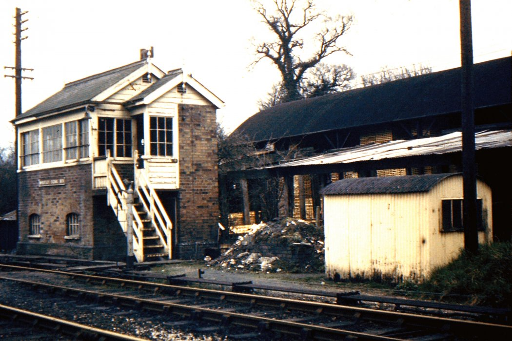 Avery's sawmill building after the business had closed, and with the signal box
