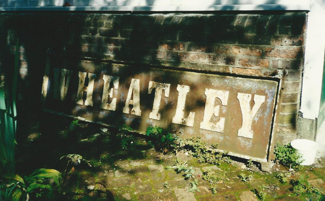 The old Wheatley station sign found in a garden in North Oxford