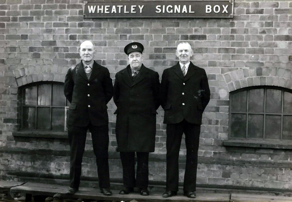 District  Inspector Mr Rumble pictured with two Wheatley railwaymen - Mr Jackson and Wilfred Cox