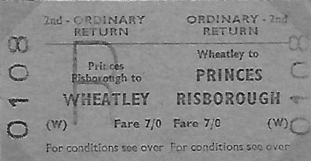 Return ticket for journey on final day of passenger service through Wheatley