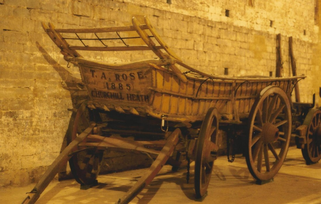 This photo is shown exactly as it is in the archive although, obviously, it has discoloured with age. But, it is said to show an Oxfordshire wagon painted with ochre and, at the time, was on display in Coxwell Barn.