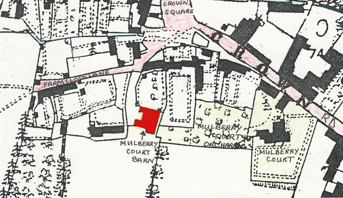 Map showing the barn (in red) understood to have been used in the 20th century for the making of paint, a process which apparently produced odious smells. It was demolished to make way for housing.