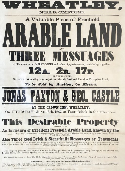 Sale notice for arable land at Wheatley 1867