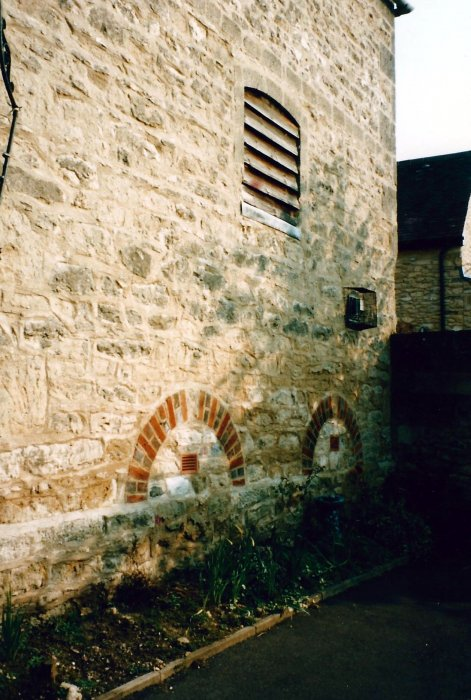 Brick features in the wall of the Granary Church