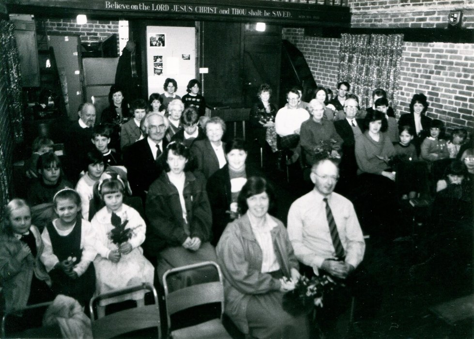 1988. The Sunday School congregation in the Granary church as shown in the Centenary booklet