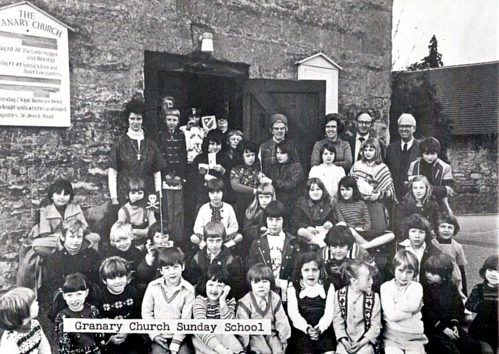 1977. The Sunday School congregation in the Granary church as shown in the Jubilee booklet
