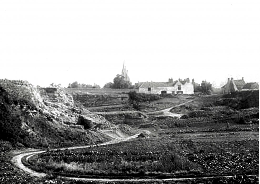 Taunt picture of the Stone pit and lock-up with the church in the back ground taken in 1887