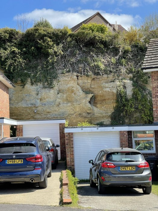 The quarry face at the back of Templars Close