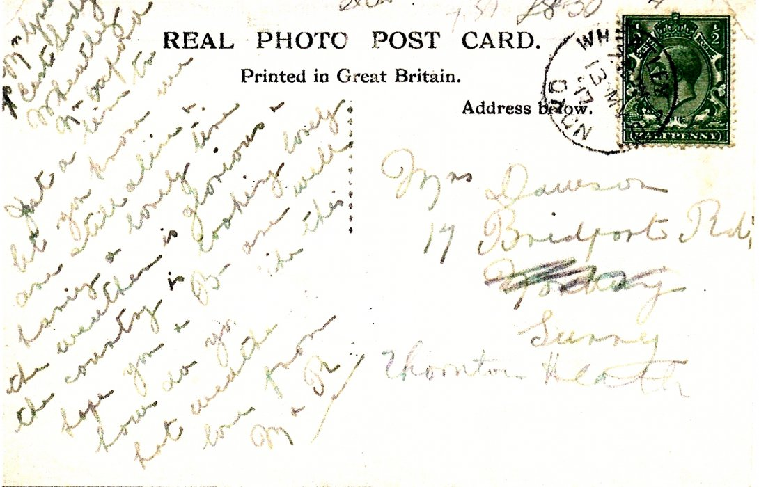 Reverse of post-card