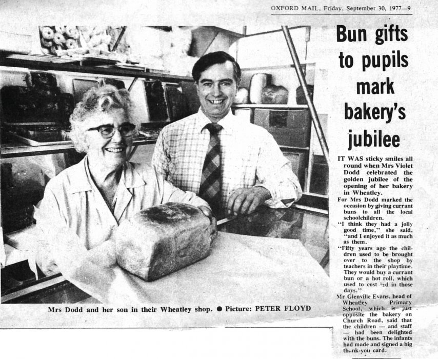 1977 Oxford Mail article to celebrate golden jubilee of this bakery shop