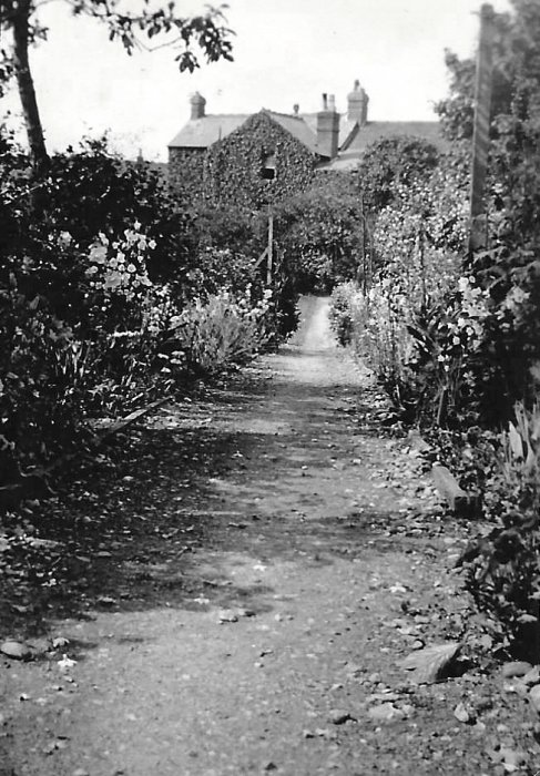 The garden to the rear of Cullum's house, much of which has given way to the approach to Templars close. Florence Pryer (nee Cullum) noted that an additional bedroom was built on in 1938