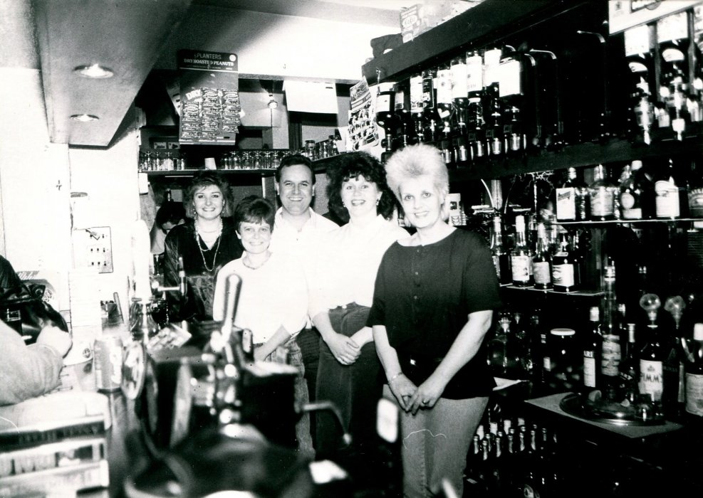 Bar staff in 1988 as shown in the Centenary booklet