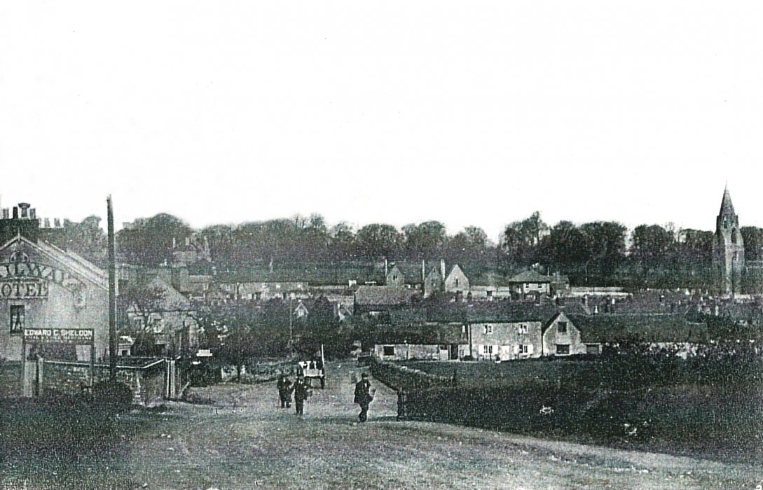 Looking  towards the village from the railway bridge on Ladder Hill, c. 1910