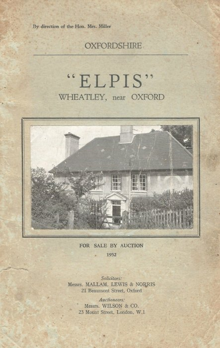 The front of the auction catalogue for Elpis (now Hill House), Ladder Hill in 1952.
