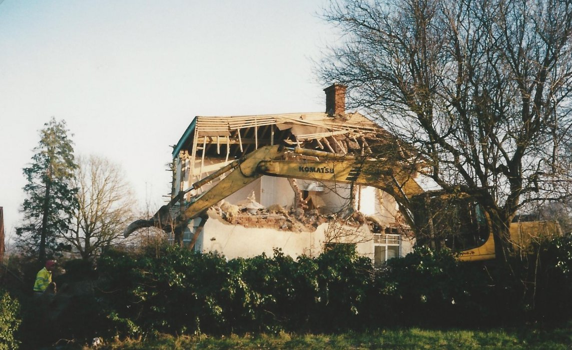Demolition of the station master's house in 2003, now the site of three houses, Nos 25, 27 and 29 Ladder Hill