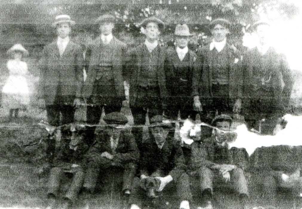 Back Row: Tom Ring, Isaac (Ikey) Munt, William (Jerry) Gould, Mr Green (gardener at the vicarage), Charles Shorter (b. 1894) Front row: ?,George Gould, Richard James Munt (b. 1896), Jim shorter (b. 1897), Johnnie Gould