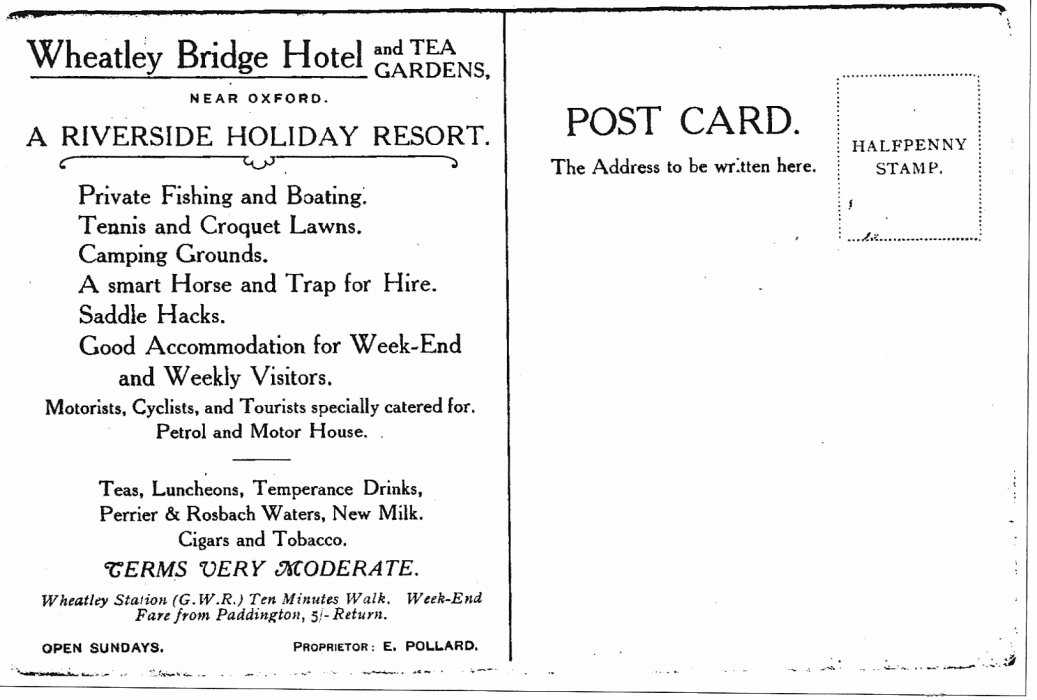 Wheatley Bridge Hotel and tea gardens Postcard back, probably from the 1910s (postage for a postcard was 1/2d, until 1918)