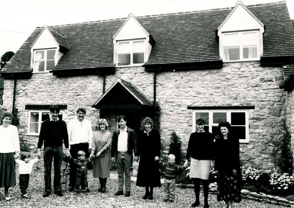 1988. The Mannifield family outside 2 Crown Square as shown in the Centenary booklet