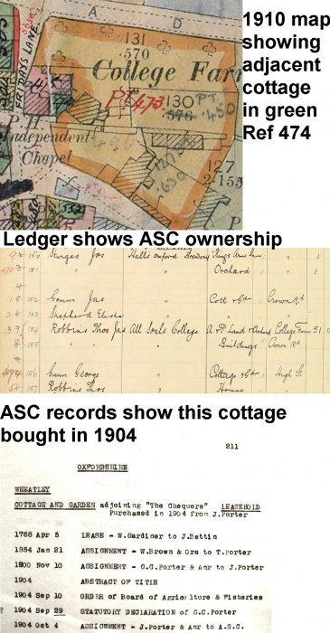 Details of purchase of adjacent cottage in 1904