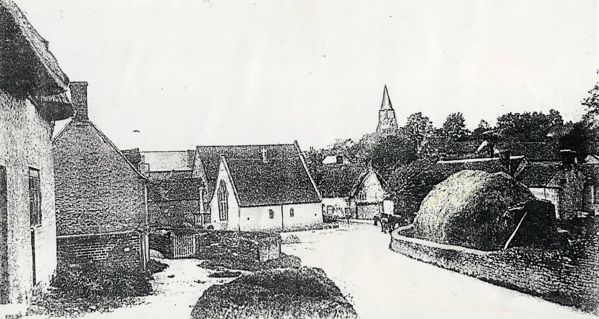 Drawing of Crown Road looking towards the URC and High Street possibly pre 1897