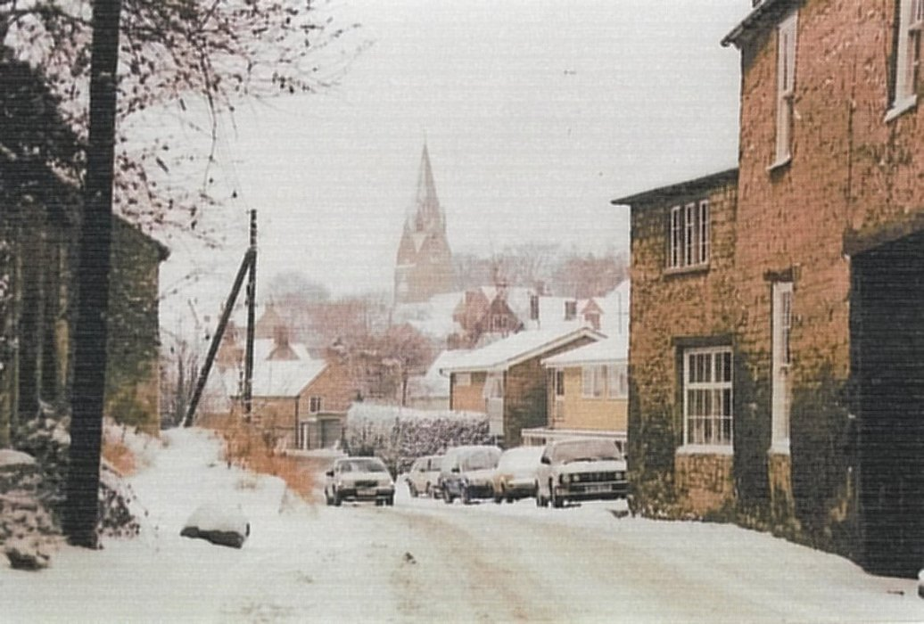 Date not known. In the snow, looking east towards the Church