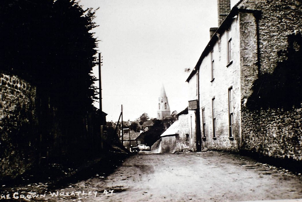 Date not known. View of the Crown inn from the east