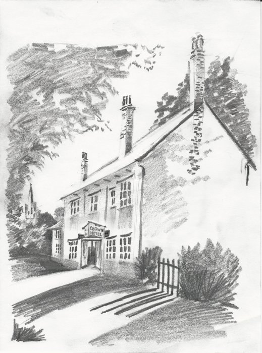 Vic Churchley sketch of the old Crown Inn