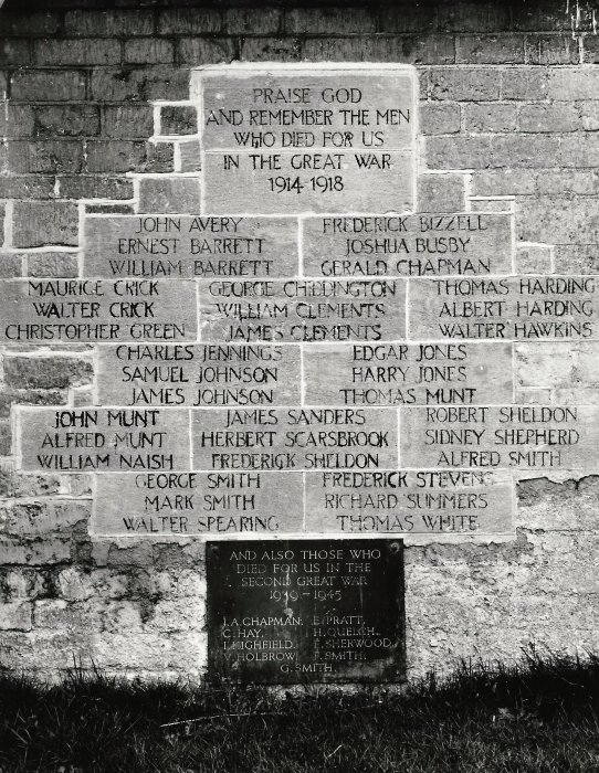 The names on the old War Memorial were moved to the west wall of St Mary's Church porch
