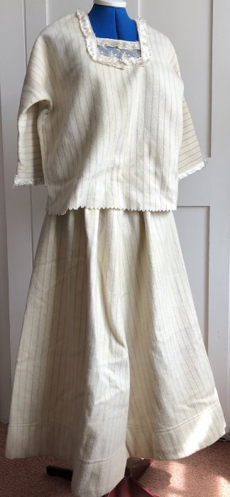 Flannel skirt (cream with blue stripe) with matching top