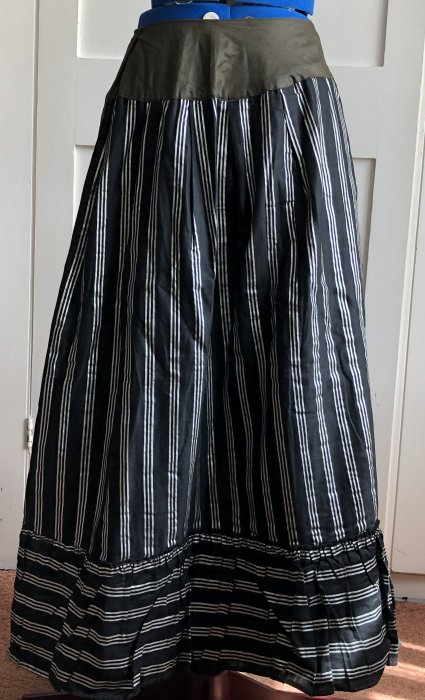 Black and silver striped glazed cotton skirt