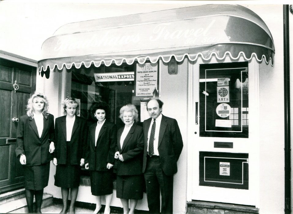 1988. Staff at Bradshaw's travel shop in 1988 as shown in the Centenary booklet