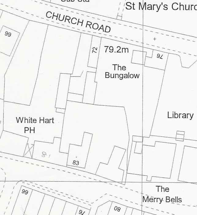 Earlier map showing that some of the rear land was then owned by 76 Church Road