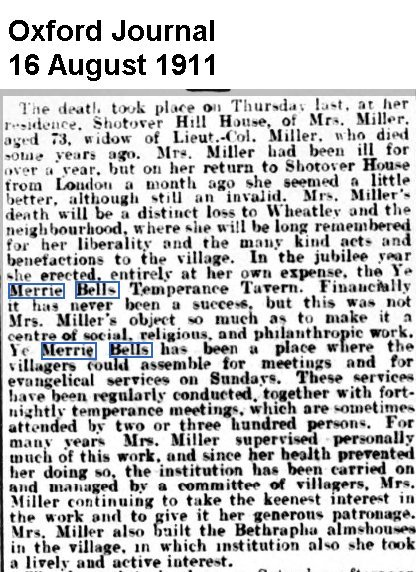 Mrs Dorothy Miller died in August 1911