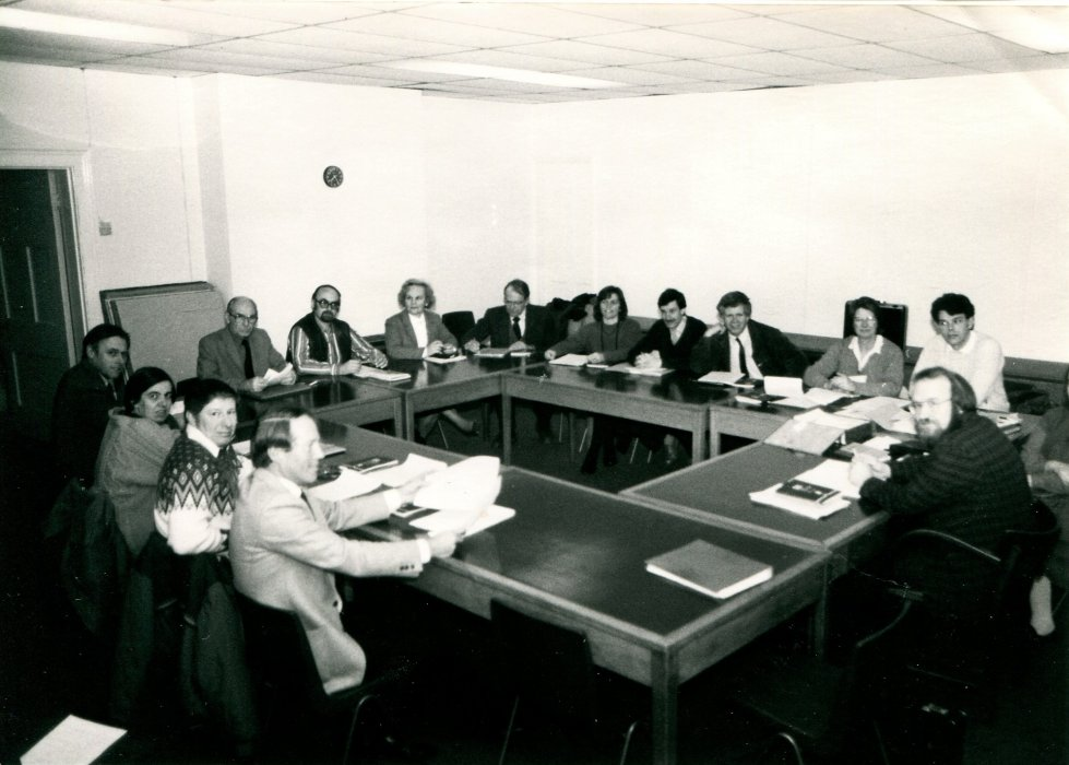 1988, Parish Council meeting with Councillors as shown in the Centenary booklet