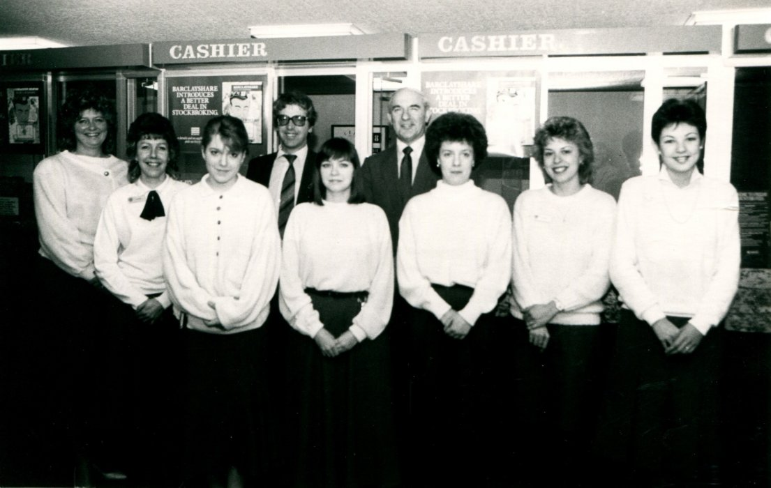 Barclays Bank staff in 1988 as seen in the Centenary booklet