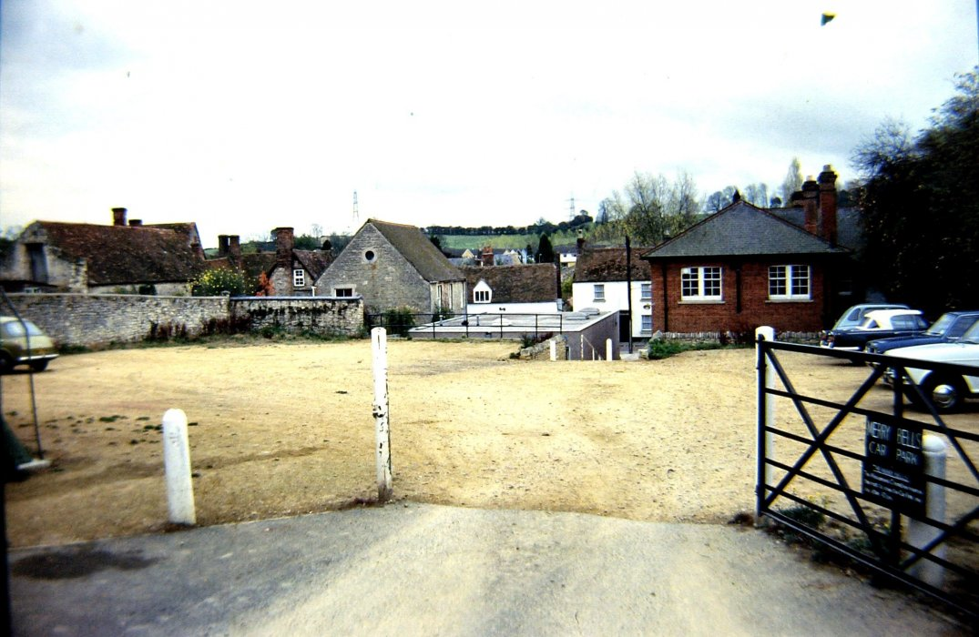 c. 1980. View across the Merry Bells car park showing that the bank was only single storey at that time