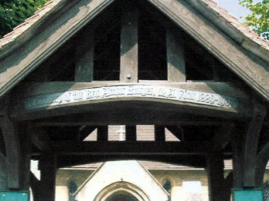 Plaque on canopy over main gate: In memory of Rev. Arthur Sturgess, M.A. Vicar 1889-1907