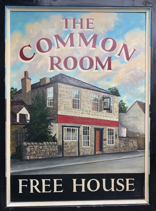 One side of the old 'Common Room' hanging sign