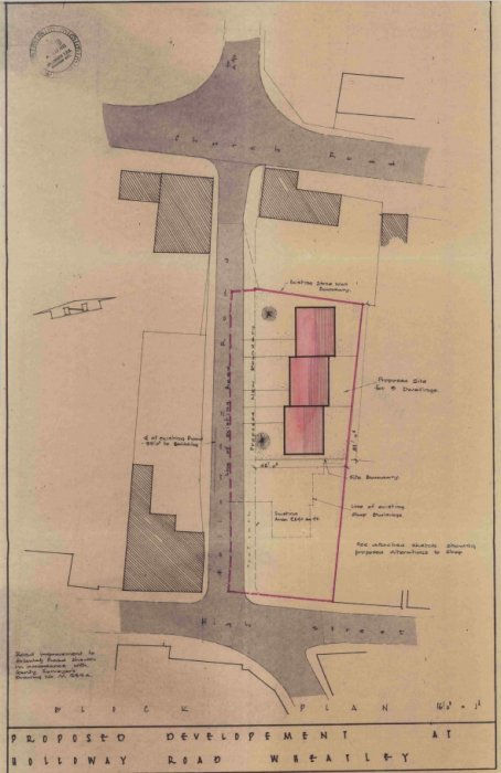 Planning application for Gostick Stores of the buildings previously 51-53 High Street (now 53 High Street) believed to be from 1972. This clearly shows the extent of the previous buildings and that the carriageway width (including pavements) was originally half what is has since become.
