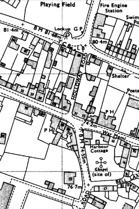 OS map showing the original width of Holloway Road before the 1970s re-development.