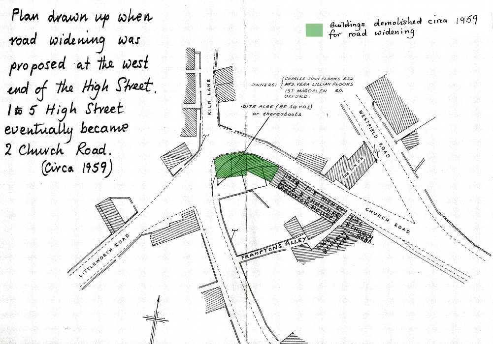 Plan showing buildings to be demolished in 1959