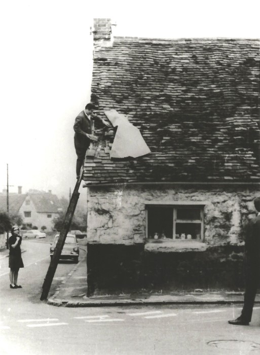 The roof of Barton Cottage damaged for the fifth time by a lorry taking timber to Baynes yard at Ladder Hill - Oxford Mail and Times 19.9.1969
