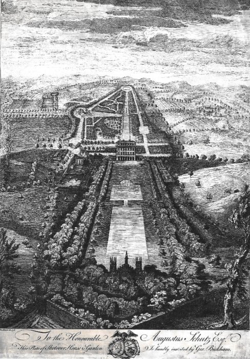 Birds eye view of Shotover House and gardens in 1750
