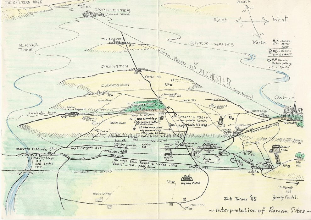 Map by Jack Turner showing Roman aspects of Wheatley